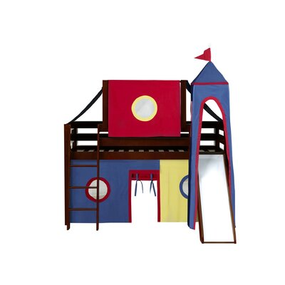 Kids Fun Castle Twin Low Loft Bed Bed Frame Color: Cherry, Color: Red/Blue/Yellow