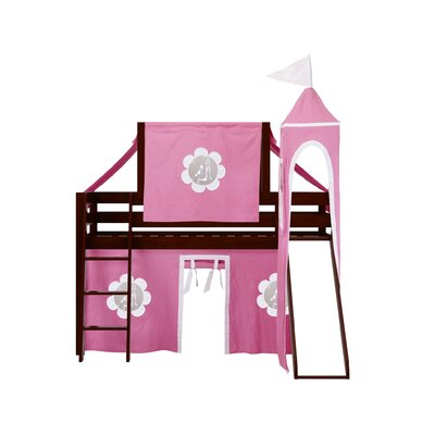 Kids Fun Princess Twin Low Loft Bed Bed Frame Color: Cherry