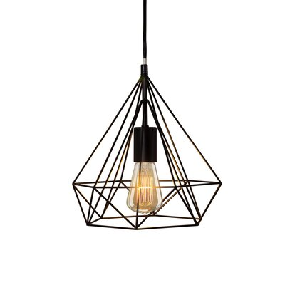 Modlin Diamond Cage 1-Light Geometric Pendant Finish: Black