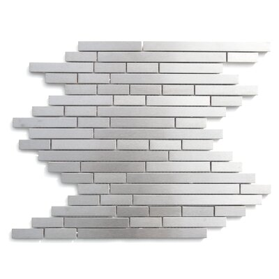 Random Sized Stainless Steel Mosaic Tile in Matte Silver