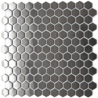 Stainless Steel Mosaic Tile in Silver Snow