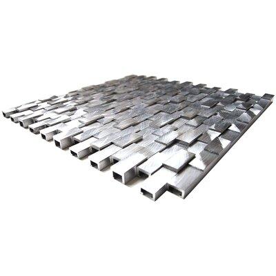 3D Raised Aluminum Mosaic Tile in Silver