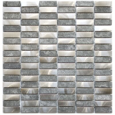 Basalt Stone/Stainless Steel Mosaic/Metal Look Tile in Gray