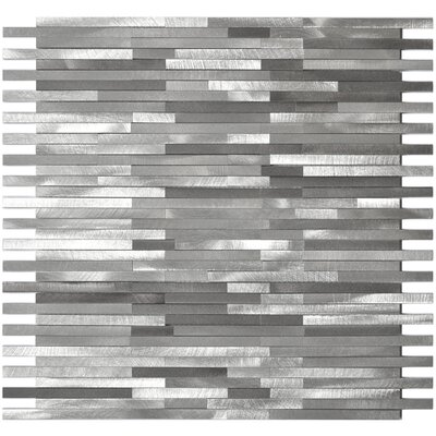 Blends Thin Lines Aluminum Mosaic Tile in Gray