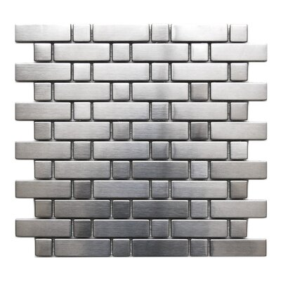 Brick and Square Pattern Stainless Steel Mosaic Tile in Matte Silver
