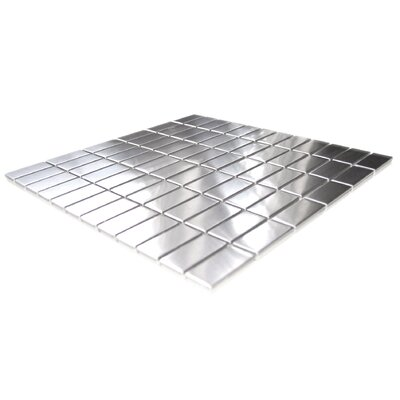 Eden Mosaic Grid Brick Stainless Steel Mosaic Tile in Silver