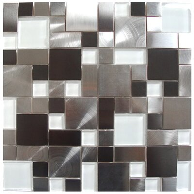 Modern Cobble Stainless Steel/Glass Mosaic Tile in Black/Silver