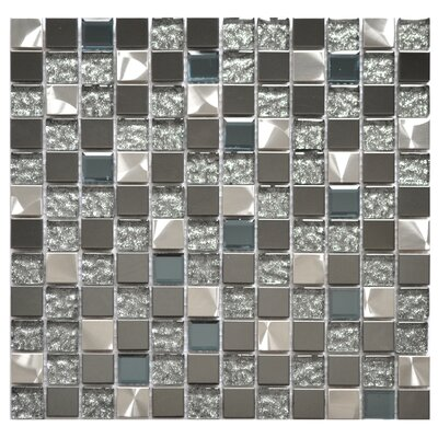 Mixed 0.8 x 0.8 Glass/Metal Mosaic in Dark Gray/Silver/Royal Blue