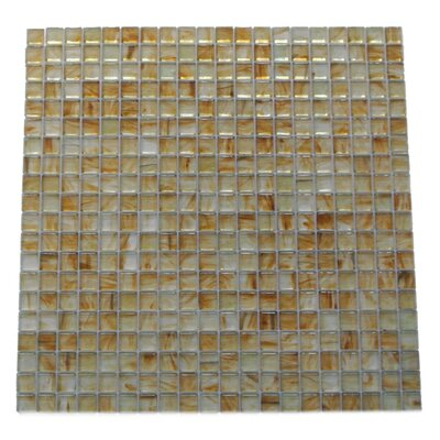Amber 0.63 x 0.63 Glass Mosaic Tile in Glazed Brushed Gold