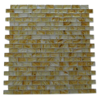 Amber 0.63 x 1.25 Glass Mosaic Tile in Glazed Brushed Gold