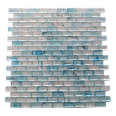 Amber 0.63 x 1.25 Glass Mosaic Tile in Glazed Sky Blue
