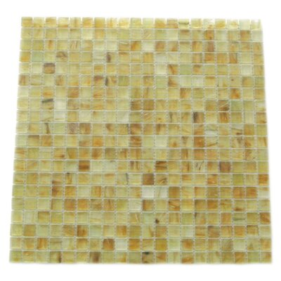 Amber 0.63 x 0.63 Glass Mosaic Tile in Frosted Brushed Gold