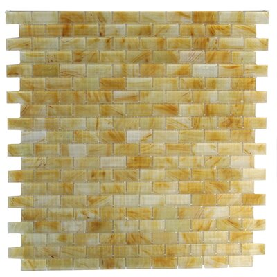 Amber 0.63 x 1.25 Glass Mosaic Tile in Frosted Brushed Gold