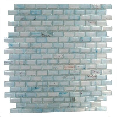 Amber 0.63 x 1.25 Glass Mosaic Tile in Frosted Sky Blue