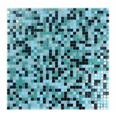 Galaxy Straight 0.31 x 0.31 Glass Mosaic Tile in Turquoise/Black