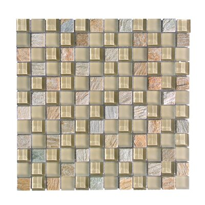 Mineral 1 x 1 Glass and Slate Mosaic Tile in Golden