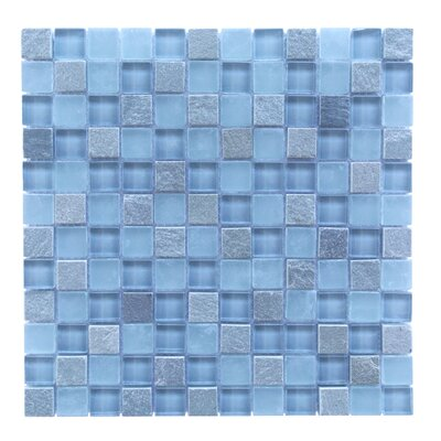 Mineral 1 x 1 Glass and Slate Mosaic Tile in Blue Gray