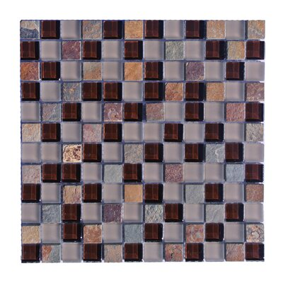 Mineral 1 x 1 Glass and Slate Mosaic Tile in Multi