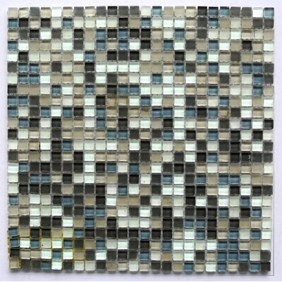 Petite 0.38 x 0.38 Glass Mosaic Tile in Nickel