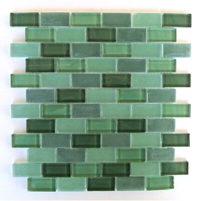 Free Flow 1 x 2 Glass Mosaic Tile in Dark Green