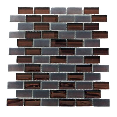 Free Flow 1 x 2 Glass Mosaic Tile in Coffee