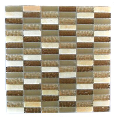 Quartz 0.63 x 2 Glass and Stone Mosaic Tile in Macadamia