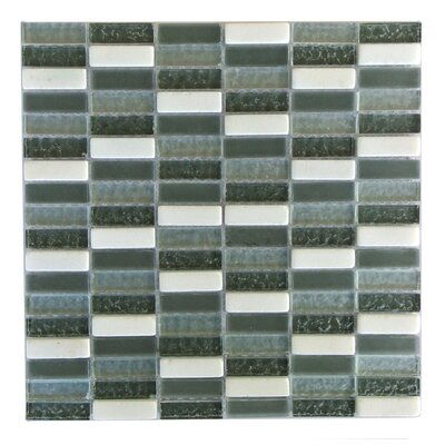 Quartz 0.63 x 2 Glass and Stone Mosaic Tile in Black Walnut