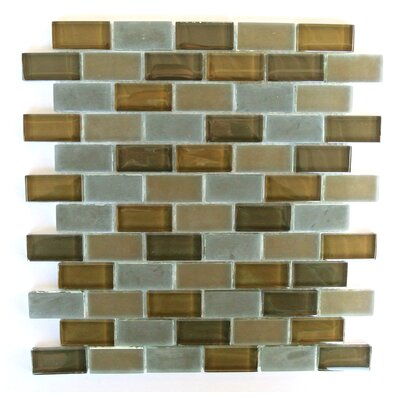 Free Flow 1 x 2 Glass Mosaic Tile in Brown/Gray