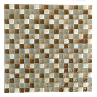 Quartz 0.63 x 0.63 Glass and Stone Mosaic Tile in Deserto