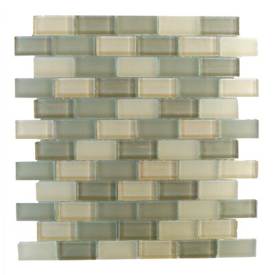 Free Flow 1 x 2 Glass Mosaic Tile in Glazed Green and Beige