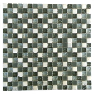 Quartz 0.63 x 0.63 Glass and Stone Mosaic Tile in Green and White