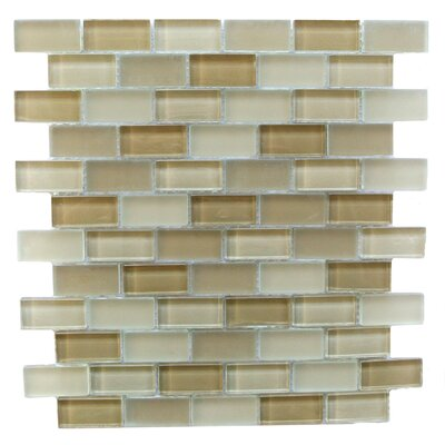 Free Flow 1 x 2 Glass Mosaic Tile in Beige