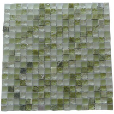 Quartz 0.63 x 0.63 Glass and Stone Mosaic Tile in Calce