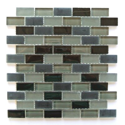 Free Flow 1 x 2 Glass Mosaic Tile in Gray Mix