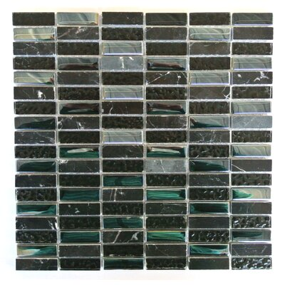 Quartz 0.63 x 2 Glass and Stone Mosaic Tile in Lugnut