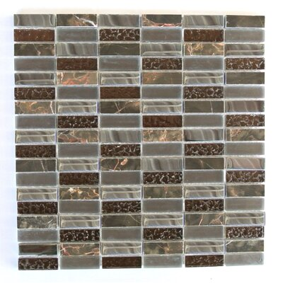Quartz 0.63 x 2 Glass and Stone Mosaic Tile in Chestnut