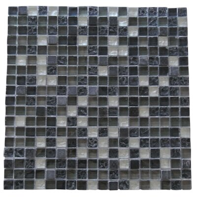 Quartz 0.63 x 0.63 Glass and Stone Mosaic Tile in Fossil