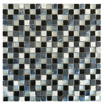 Quartz 0.63 x 0.63 Glass and Stone Mosaic Tile in Gray and White