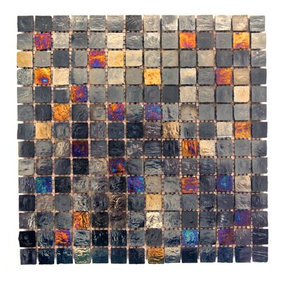 LEED Amber 0.75 x 0.75 Glass Mosaic Tile in Midnight