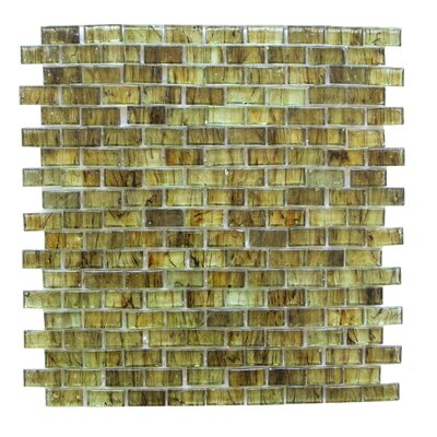 LEED Amber 0.63 x 1.25 Glass Mosaic Tile in Brown Olive