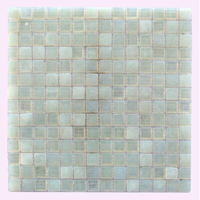 LEED Amber 0.75 x 0.75 Glass Mosaic Tile in Pearl White