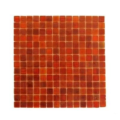 LEED Amber 0.75 x 0.75 Glass Mosaic Tile in Snappy Red