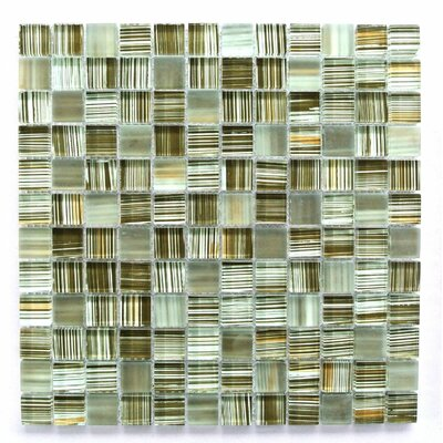 Handicraft 1 x 1 Glass Mosaic Tile in Brown/Green/Beige