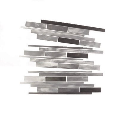 City Lights New York Random Sized Aluminum Mosaic Tile in Glazed Silver