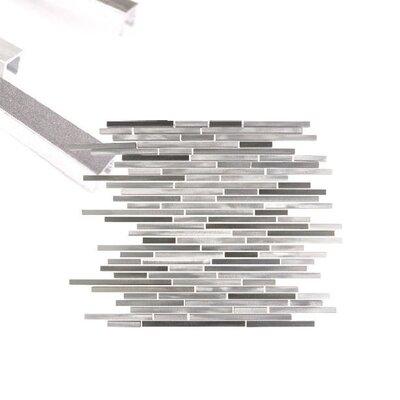 City Lights New York Random Sized Aluminum Mosaic Tile in Glazed Silver