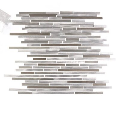 City Lights San Francisco Random Sized Aluminum Mosaic Tile in Glazed Silver