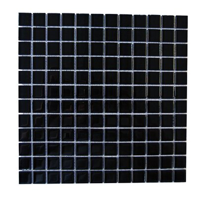 Metro 1 x 1 Glass Mosaic Tile in Black