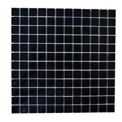 Metro 1 x 1 Glass Mosaic Tile in Black