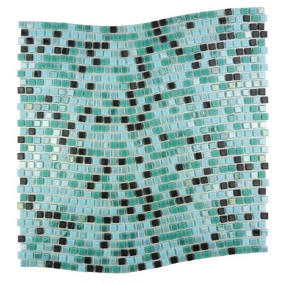 Galaxy Wavy 0.31 x 0.31 Glass Mosaic Tile in Turquoise/Black