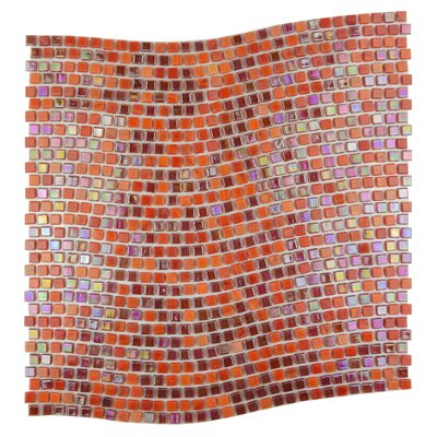 Galaxy Wavy 0.31 x 0.31 Glass Mosaic Tile in Red